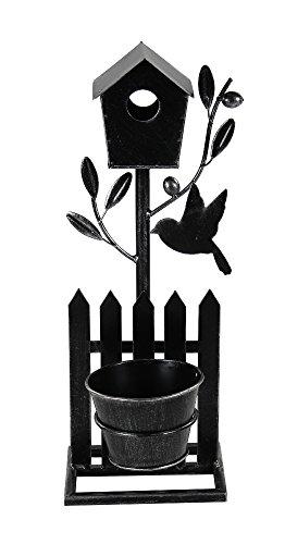 Decoline Metall Vogelhaus mit Blumentopf S - 42cm schwarz, Silber