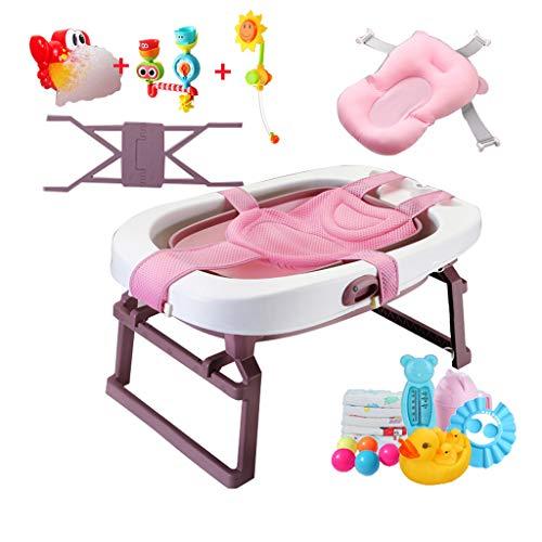 GY Fold bad, draagbare plastic douchebak, grote baby kan zitten en liggen, pasgeboren kind verhoogd bad met drijvende pad 2 kleuren, 85,3 * 55,5 * 43,7 cm