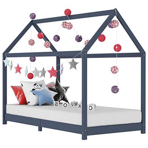 HUANGDANSP Estructura de Cama Infantil Madera Maciza Pino Gris 70x140 cm Mobiliario Mobiliario para bebés y niños pequeños Cunas y Camas para niños