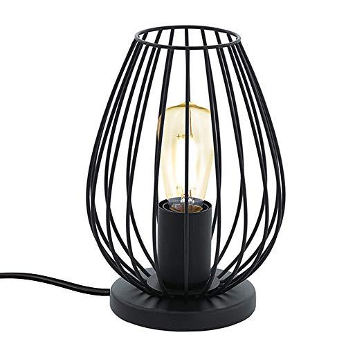 Chao Zan moderne Tischlampe, 1 flammige Vintage Tischleuchte, Nachttischlampe aus Metall, Farbe: Schwarz, Fassung: E27, Standleuchte mit Stecker und Schalter,Wohnzimmer,Büro,Studio,Café, Bar.