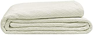 Elite Home Diamond Weave Bamboo & Cotton Super-Soft Blend Blanket, Twin, 66x90, Ivory