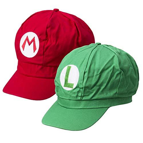 Greetuny 2X Gorra Mario Bros y Luigi,Disfraz de Adulto y Niños,Boina Unisex,Verde y Rojo (Rojo y Verde)