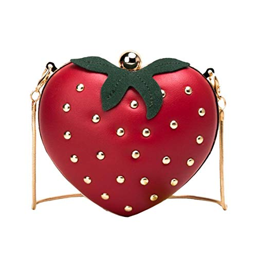 lulongyansf Frauen Umhängetasche Tasche Mini-Handtasche Nette Frucht Erdbeere Crossbody Beutel Sommer-Beutel-Geldbeutel für Mädchen Wein-Rot