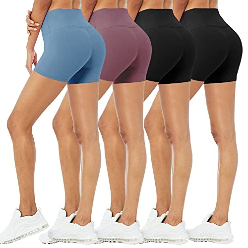 """4 Pack Biker Shorts for Women – 5""""/8"""" High Waisted Stretch Spandex Workout Shorts for Summer Yoga Running Athletic"""