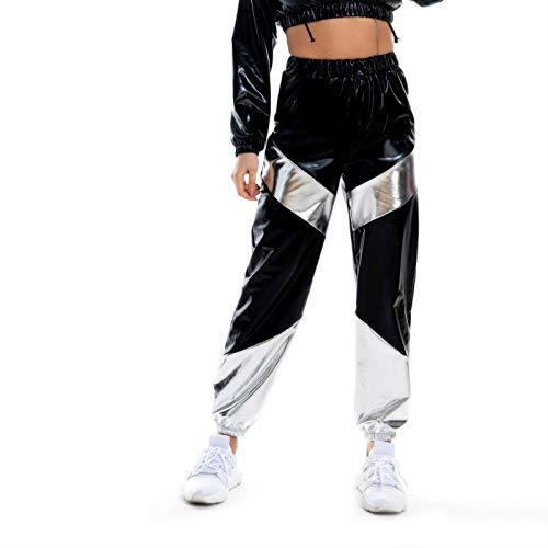 Vectry Damen Lackleder Hose Baggy Hip Hop Hohe Taille Pants Pailletten Jogginghose Freizeithose Sportswear Workwear Drawstring Lang Hosen Nightcub Metallic Shiny Pants(Schwarz,L)