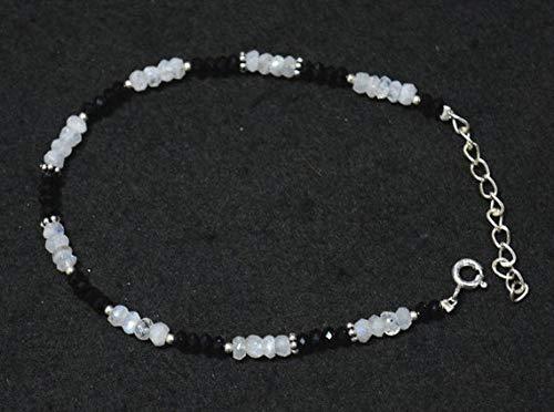 World Wide Gems Gemstone Beaded Bracelet, Onyx Bracelet, Rainbow Moonstone Bracelet, Silver Bracelet for Women Size-3.5-4mm