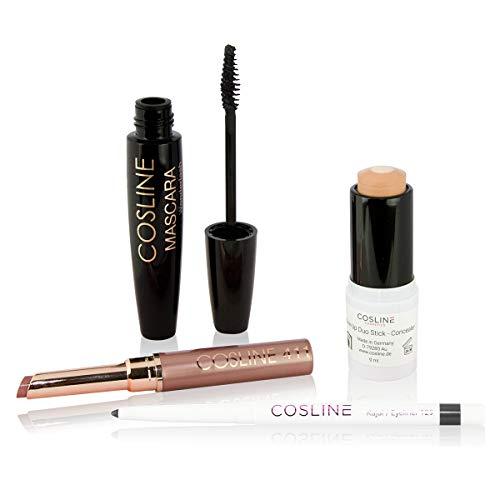 COSLINE Starter-Set: Kajal/Eyeliner, Lippenstift, Make Up Duo Stick und Mascara