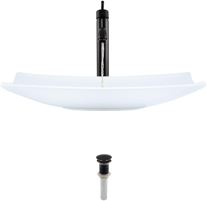 V360-White Porcelain Vessel Sink Antique Bronze Ensemble with 718 Vessel Faucet (Bundle - 3 Items  Sink, Faucet, and Pop up Drain)
