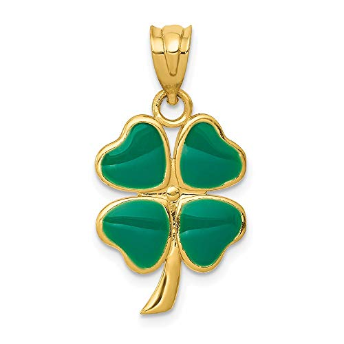 14k Yellow Gold Enameled Four Leaf Clover Pendant Charm Necklace Good Luck Italian Horn Celtic Claddagh Fine Jewelry For Women Gifts For Her