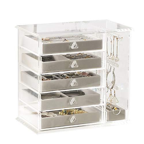 joyero Cajas para Caja de joyería de las mujeres Mostrar caja de decoración de acrílico de alta gama transparente para collar, pendientes, anillos de joyería de almacenamiento Caja de almacenamiento d