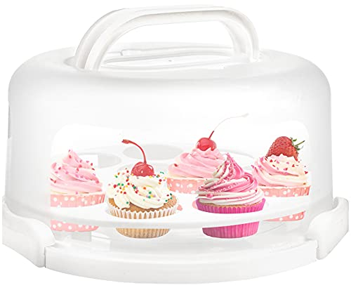 Yesland Cake Carrier with Collapsible Handle - White Cake Container and Holder with Lid - Portable Plastic Round Cake Cover for 10 inch Cake, Pies, Cookies, Nuts, Muffins, Cupcakes and Fruit