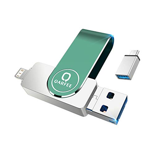 QARFEE Flash Drive Compatible for iPhone, Photo Stick 128GB Memory Stick Photostick Mobile, Thumb Drive USB 3.0 Compatible with iOS Devices Android Backup OTG Smart Phone (128GB, Green)