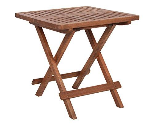 Spetebo Eukalyptus Gartentisch - 50x50 cm - Holz Klapptisch Bistrotisch Biergarten Tisch