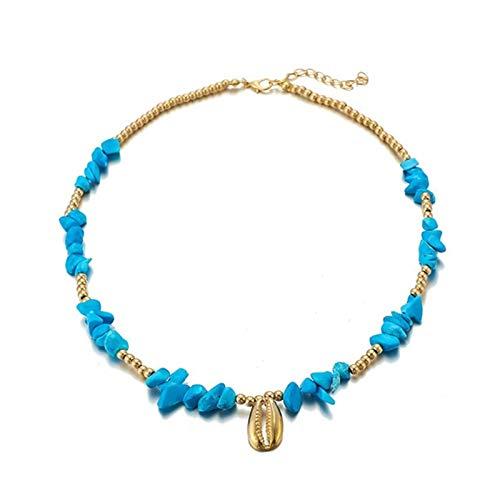 Encantos de Bohemia Piedra Natural Neckalce for Mujeres de la Cadena Playa Mar Pendiente de Concha de Oro joyería Chockers Verano Gift (Metal Color : Gold)