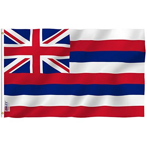 Anley Fly Breeze 90 x 150 cm Bandera Estado Hawaii - Colores Vivos y Resistentes a Rayos UVA - Bordes Reforzados con Lona y Doble Costura - Hawaiana HI Banderas Poliéster con Ojales de Latón