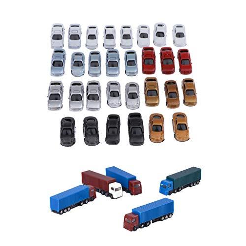 #N/A/a 35x 1: 200 Z Gauge Plastic Car Model + Truck Street Scenery Accessories