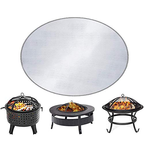 GT-LYD Round Fire Pit Mat & Fireproof Mat, FirePad Deck Protector, Grill Mat, Fire Retardant Resistant Pad, Prevent Your Floor Deck Patio & Lawn from Damaged by High Temperature,32inch