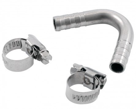 Benzinschlauch Krümmer SIP für Vespa alle Modelle, Durchmesser:i 7,0mm, Durchmesser:a 10,0mm, Edelstahl, 55Grad gebogen für VESPA T5 / Elestart 125 VNX5T 2T AC 85-90