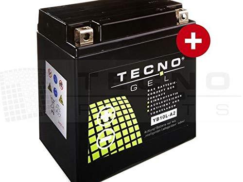 TECNO-GEL Motorrad-Batterie YB10L-A2, 12V Gel-Batterie 11Ah, 134x88x145 mm inkl. Pfand
