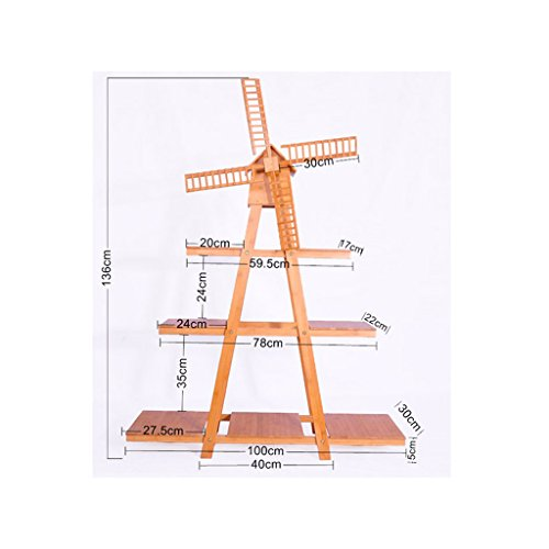 Étagères BOBE Shop- Balcon Moulin à Vent Porte-Fleurs Créatif Bamboo Landing Indoor Couches Multiples Simple Moderne (Taille : 100 * 30 * 136cm)
