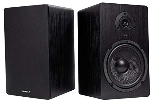 "Pair Rockville RockShelf 64B Black 6.5"" Home Bookshelf Speakers W/Kevlar Woofers"