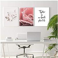 北欧スタイルのバラの花キャンバス印刷壁アートポスターと一緒に印刷ポスター壁の写真寝室用70x100cmx3Pcsフレームレス
