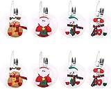 Maye 8 Stücke Weihnachten Besteckhalter Bestecktasche Besteckhalter Weihnachtsdeko Weihnachtsmann Dekoration Schneemann Besteck Anzug Weihnachten Tischdekoration für Zuhause(8pcs)