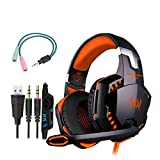 Gaming Headset Wired Headphones Over Ear Earphones RGB Light Professional G2000 Headset with Microphone for Laptop Smart Phone Orange,Headphones