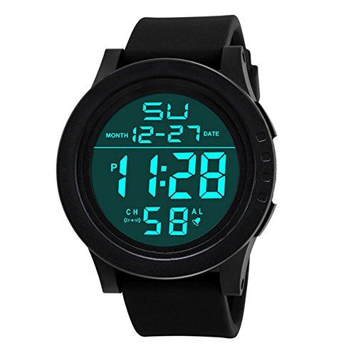 Sport Watch, 50M Waterproof Watch, Sport Wrist Watch for Men Women Kids, Digital Watch with Alarm Date and Time (Black -1)