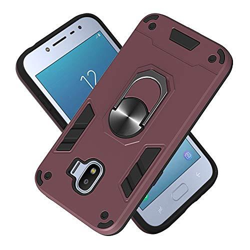 FAWUMAN Armure Coque Samsung Galaxy Grand Prime Pro, Boîtier PC + TPU Double Layer Housse résistant aux Chocs avec Support à Anneau Rotatif à 360 degrés (Bordeaux)