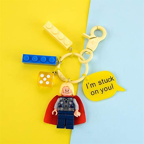 Qsdxlsd Schlüsselanhänger Superheld Bausteine Spinne Eisen Mann Batman Cartoon Anime Figur Schlüsselanhänger Schmuck Tasche Anhänger (Color : CP 1051)