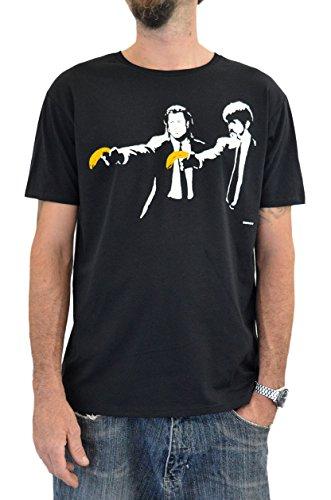 Faces T-Shirt Hombre Banksy Pulp Fiction Impresión del Manual de la Pantalla de Agua