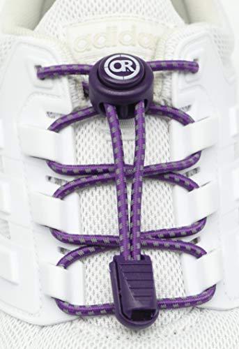 ONLY RUN Reflektierende Elastische Schnürsenkel mit Schnellverschluss perfektes Schnellschnürsystem für Kinder, Erwachsene & Senioren und für sportliche Aktivität wie Marathon, Triathlon (7. Lila)
