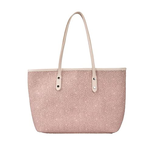 Bolso de compras para mujer Bolso de mamá de gran capacidad Bolso de mano con estampado de letras Bolso de hombro de moda (pink)