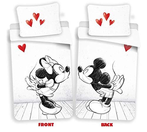 Disney Mickey & Minnie Mouse Love Bettwäsche, Wendebettwäsche Größe: 140x200 cm, Kissen 70x90 cm 100% Baumwolle Schwarz/Weiß