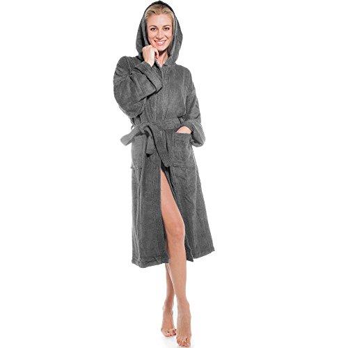 aqua-textil Föhr, Bademantel Baumwolle grau anthrazit mit Kapuze für Damen u. Herren, Frottee Morgenmantel, Größe L, Saunamantel Bathrobe Nr. 0010129