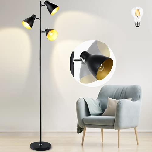 3 Licht Baum Stehlampe Depuley Retro Stehlampe mit E27 Glühbirne, Schwenkbare Stehleuchte mit 3-flammig, Metall Standleuchte Deckenfluter Schwarz, Lesen Standlampe für Wohnzimmer Schlafzimmer Büro