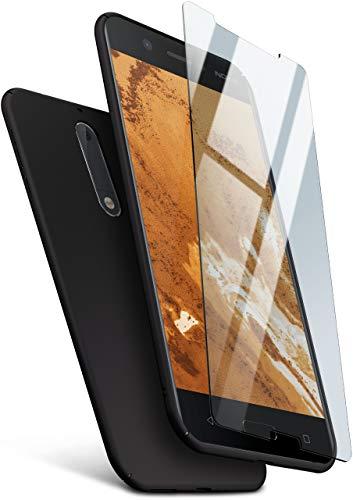 MoEx® 360 Grad R&um-Schutz [Hülle + Panzerglas] für Nokia 5 | Extrem dünne Handyhülle in Schwarz inkl. kristallklare Schutzfolie aus Hartglas