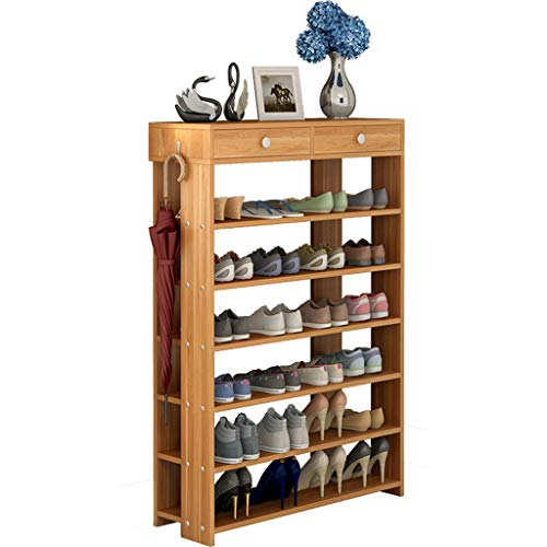 Yyqx Zapatero para zapatos, muebles de sala de estar, muebles modernos para zapatos, estante de madera, zapatero (color: marrón, tamaño: 75 cm)