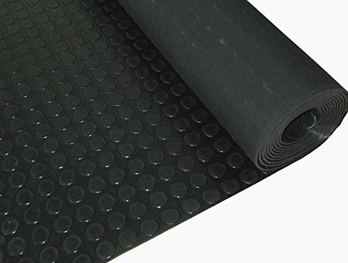 Piso de goma, moneda de rollo | 3mm de espesor | 1m de ancho | 5m de largo | antideslizante | alfombrilla para suelos de seguridad para garaje, taller, gimnasio, estable, Parque etc