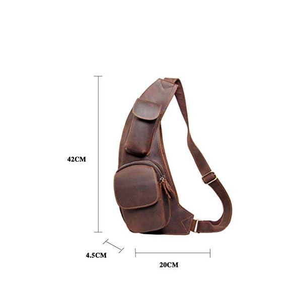41ImDi3X0nL. SS600  - Leathario Mochila de Pecho Cruzado Cuero Bolso Hombro Bandolera Piel Vintage Grande para Hombres Casual Escolar Viaje