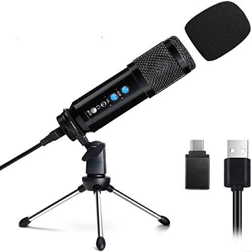 Micrófono para PC y teléfono, EXJOY Micrófono de Condensador con Trípode con Adaptador tipo C y Conector para Auriculares de 3,5 mm, para Youtube, Vlog, Streaming, Podcast, Juegos