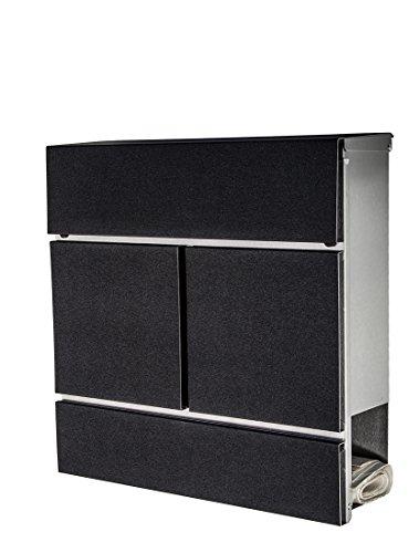 Brievenbus/mailbox/roestvrij staal 777 front in diamantzwart met krantenvak/ALLEEN 1 x verzendkosten voor alle bestellingen samen.