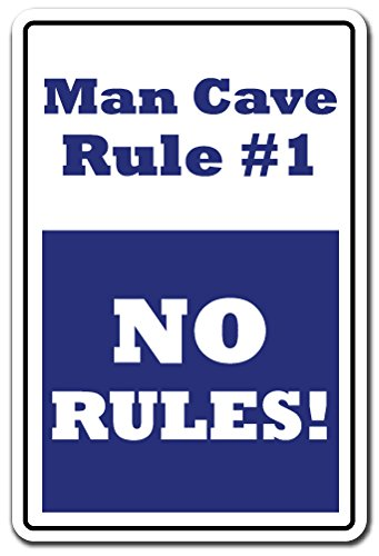 Man Cave Rule #1 Novelty Sign | Indoor/Outdoor | Funny Home Décor for Garages, Living Rooms, Bedroom, Offices | SignMission Men Rules Funny Man Room Sports Room Gift Sign Wall Plaque Decoration