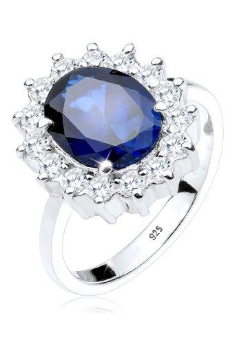 Elli Ring Damen Cocktailring Saphirblau Zirkonia Kristalle in 925 Sterling Silber