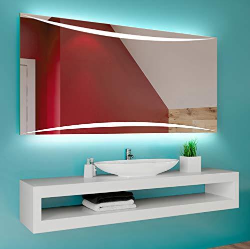 Badspiegel 90x60cm mit LED Beleuchtung - Wählen Sie Zubehör - Individuell Nach Maß - Beleuchtet Wandspiegel Lichtspiegel Badezimmerspiegel - LED Farbe zu Wählen Kaltweiß/Warmweiß L78