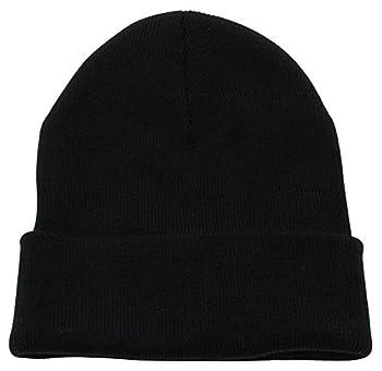 Top Level Unisex Cuffed Plain Skull Beanie Toboggan Knit Hat/Cap Blk