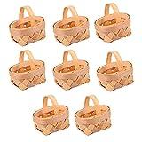 Cabilock 8 Piezas Mini Cesta con Asas Muebles de Mimbre Cesta de La Compra de Picnic Cesta de La Boda para Frutas Regalos Juguetes Artesanías
