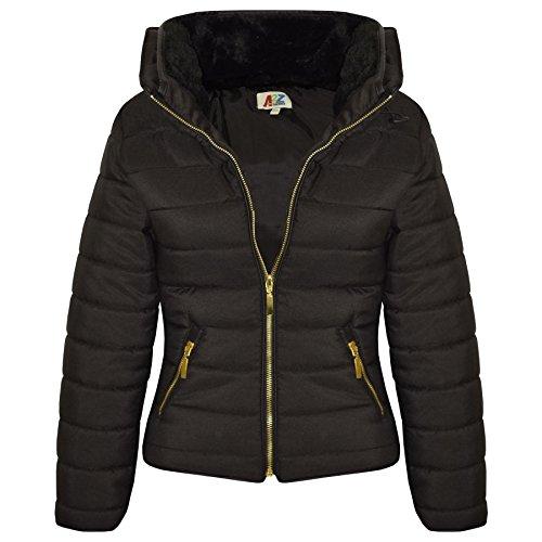 A2Z 4 Kids Enfants Filles Noir Veste Élégant - Puffer Jacket. Black 3-4
