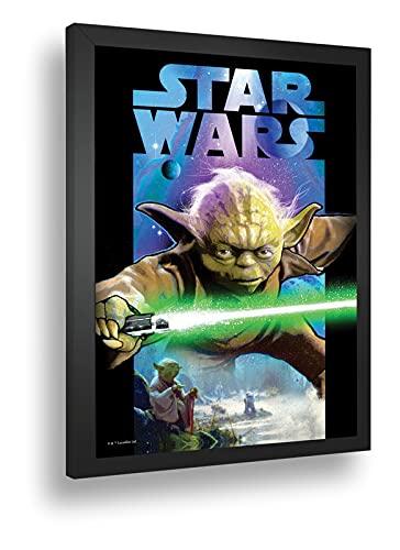 Quadro Decorativo Poste Star Wars Yoda Sabre De Luz